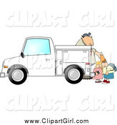 Clip Art of a White Children Watching a Man Set out Construction Cones by Djart