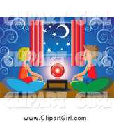 Clip Art of a White Little Boy and Girl Sitting on Pillows Around a Crystal Ball by Cidepix