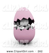 Clip Art of a White Man Peeking out from Inside of a Cracked Pink Easter Egg by KJ Pargeter