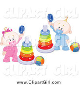 Clip Art of a White Twin Baby Boy and Girl Playing with Ring Pyramids by Pushkin