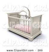 Clip Art of a White Wooden Girl's Baby Crib in a Nursery with a Pink Pad and Teddy Bear Mobile by KJ Pargeter