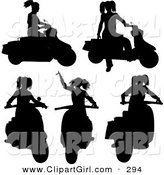 Clip Art of a Woman on a Scooter in Five Different Poses, Silhouetted on Solid White by KJ Pargeter