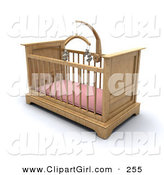 Clip Art of a Wood Girl's Baby Crib in a Nursery with a Pink Pad and Teddy Bear Mobile by KJ Pargeter