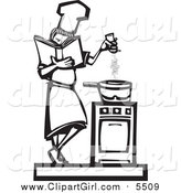 Clip Art of a Woodcut Styled Baker Girl Seasoning Food by Xunantunich