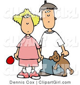 Clip Art of a Worried Brother and Sister Holding Hands, Looking Forward by Djart