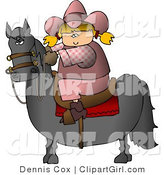 Clip Art of a Young Blond Cowgirl Riding a Saddled Horse with Reins by Djart