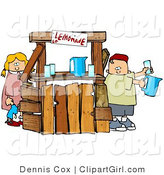 Clip Art of a Young Boy and Girl, Brother and Sister, Selling Beverages at a Lemonade Stand by Djart