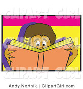Clip Art of a Young Boy or Girl Reading a Really Good Book by Andy Nortnik