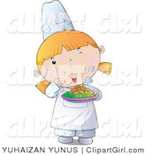 Clip Art of a Young Female Chef Girl Holding a Steaming Plate of Hot Food by YUHAIZAN YUNUS