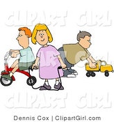 Clip Art of a Young Girl and Two Boys, Her Brothers Playing with Toys by Djart