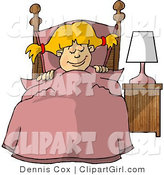 Clip Art of a Young Girl Sleeping Peacefully in Her Bedroom at Night by Djart