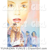 Clip Art of a Young Woman's Face Behind Her Family - a Man and Two Children by YUHAIZAN YUNUS