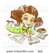 Clip Art of ACute Smiling Brunette, Brown Eyed School Girl in Green Clothes, Laying on Her Belly and Doing Homework for School by Tonis Pan