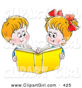 Clip Art of AHappy Twin Brother and Sister Reading a Yellow Book Together by Alex Bannykh