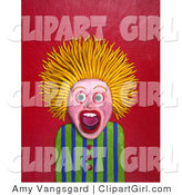 Clip Art of an Afraid Person with Blond Hair Standing on End by Amy Vangsgard