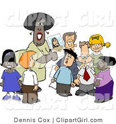 Clip Art of an African American Christian Sunday School Teacher Teaching Students About Jesus Christ by Djart