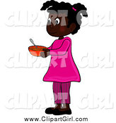 Clip Art of an African American Girl Holding a Bowl by Pams Clipart