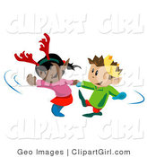 Clip Art of an African American Girl Wearing Antlers Dancing with a Boy Wearing a Crown by AtStockIllustration