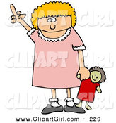 Clip Art of an Angry Little Blond Caucasian Girl Holding Her Doll and Flipping Someone off After Not Getting Her WayAngry Little Blond Caucasian Girl Holding Her Doll and Flipping Someone off After Not Getting Her Way by Djart