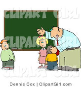 Clip Art of an Elementary Male School Teacher Explaining to Students in Front of a Green Chalkboard by Djart