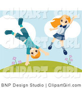 Clip Art of an Energetic Boy and Girl Jumping and Doing Cartwheels on a Hillside by BNP Design Studio
