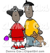 Clip Art of an Ethnic Brother and Sister Standing Together and Holding Hands by Djart