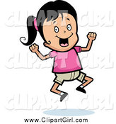 Clip Art of an Excited Black Haired Girl Jumping by Cory Thoman