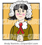 Clip Art of an Old Fashioned Quaker Woman with Flushed Cheeks, Wearing a Bonnet in Her Hair, Seated with Her Hands Clasped in Front of Her by Andy Nortnik