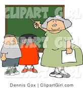 Clip Art of an Old Female Elementary School Teacher Teaching Students in a Classroom on a Chalkboard by Djart