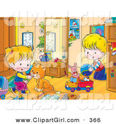 Clip Art of an Orange Cat Playing with a Boy in a Girl in Their Room by Alex Bannykh