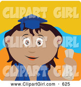 Clip Art of an Outgoing Latin American Graduating Girl Holding a Diploma by Dennis Holmes Designs
