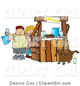 Clip Art of an Unaware Boy and Girl Preparing Drinks at Their Lemonade Stand While Their Dog Urinates in a Cup for an Unsuspecting Customer by Djart