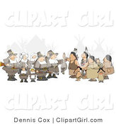 Clip Art of an Unpredictable Group of Pilgrims Holding a Dead Turkey As a Sign of Thanksgiving to the Native Americans by Djart