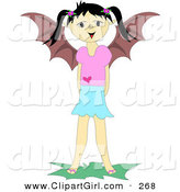 Clip Art of AnFriendly Girl with Pig Tails and Bat Wings Smiling by