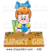 Clip Art of ASmiling Little Girl Counting the Buttons in Her Collection by Alex Bannykh
