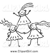 Clip Art of Black and White Girls Forming a Pyramid by Prawny