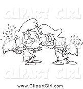 Clip Art of Cartoon Black and White Girls Having a Pillow Fight by Toonaday