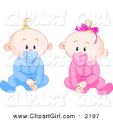 Clip Art of Caucasian Boy and Girl Baby Twins with Pacifiers, Sitting up and Facing Front by Pushkin