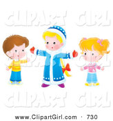 Clip Art of Caucasian Children Holding Their Arms Open by Alex Bannykh