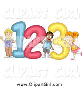 Clip Art of Cute Diverse School Children with 123 Numbers by BNP Design Studio