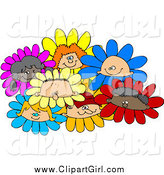 June 14th, 2015: Clip Art of Diverse Children in Flowers by Djart