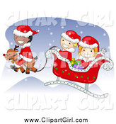 Clip Art of Diverse Christmas Kids Flying Santas Sleigh by BNP Design Studio