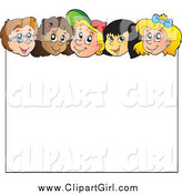 Clip Art of Diverse Happy Children over a Blank Sign by Visekart