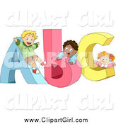 Clip Art of Diverse School Children Playing on ABC by BNP Design Studio