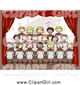 Clip Art of Doodled Diverse Kids Singing in a School Choir by BNP Design Studio