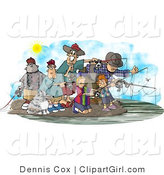 Clip Art of Family and Friends Fishing Together at a Lake Under the Sun on a Warm Day by Djart