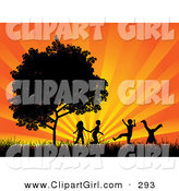 Clip Art of Four Black Silhouetted Children Running, Holding Hands and Doing Somersaults in a Field near a Tree, Against a Bursting Orange Sunset by KJ Pargeter