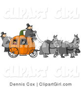 Clip Art of Gray Horses Pulling People on a Pumpkin Carriage by Djart