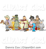 Clip Art of Halloween Trick-or-treaters Standing Together As a Group in Their Costumes on a White Background by Djart