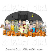Clip Art of Halloween Trick-or-Treaters Wearing Costumes and Standing Together As a Group on Halloween by Djart